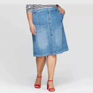 Button Front Denim Jean Skirt Ava & Viv 4x Midi